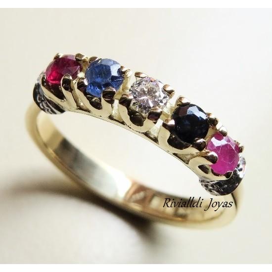 """anillo con gemas """"Indira"""""""