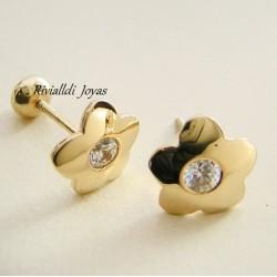 "Aretes de oro ""Flor Brillante"""